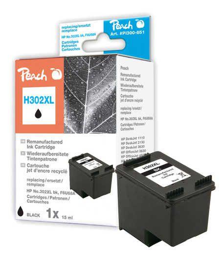 Peach  tête d'impression noire compatible avec ID-Fabricant: No. 302XL bk, F6U68A HP DeskJet 3630 Series