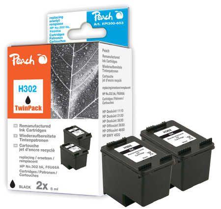 Peach  Double Pack tête d'impression noir, compatible avec ID-Fabricant: No. 302, F6U66A HP DeskJet 3630 Series