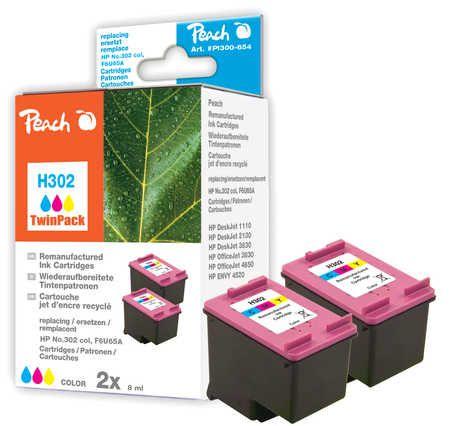 Peach  Double Pack tête d'impression couleur, compatible avec ID-Fabricant: No. 302, F6U65A HP DeskJet 3630 Series
