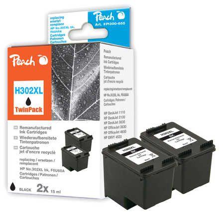 Peach  Double Pack tête d'impression noir, compatible avec ID-Fabricant: No. 302XL bk, F6U68A HP DeskJet 3630 Series