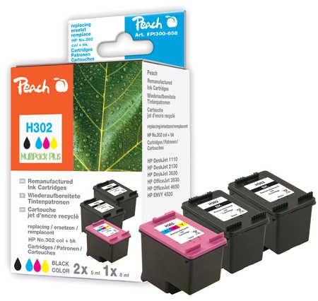 Peach  Multipack Plus compatible avec ID-Fabricant: No. 302, F6U66A, F6U65A HP DeskJet 3630 Series