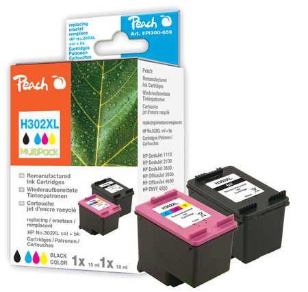 Peach  Multipack compatible avec ID-Fabricant: No. 302XL, F6U68A, F6U67A HP DeskJet 3630 Series