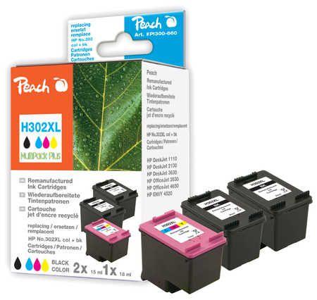 Peach  Multipack Plus compatible avec ID-Fabricant: No. 302XL, F6U68A, F6U67A HP DeskJet 3630 Series