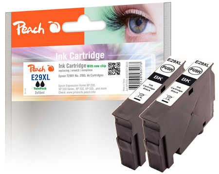 Peach  Twin Pack Ink Cartridge XL black, compatible with ID-Fabricant: No. 29XL, T2991 Epson Expression Home XP-452