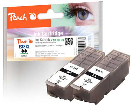 Peach  Twin Pack Ink Cartridge XL black, compatible with ID-Fabricant: No. 33XL, T3351 Epson Expression Premium XP-830