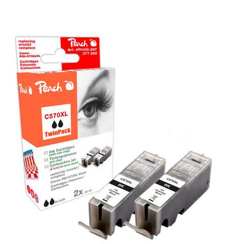 Peach  Twin Pack Ink Cartridge XL black, compatible with ID-Fabricant: PGI-570XL bk Canon Pixma TS 6050 Series