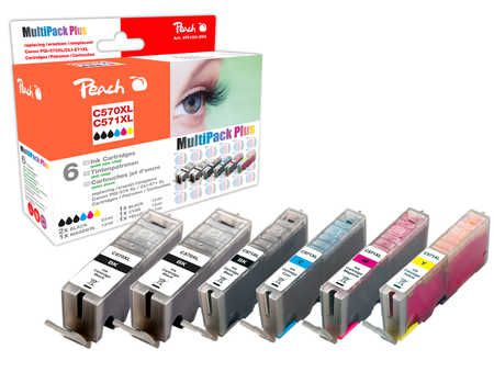 Peach  Multi Pack Plus, XL compatible with ID-Fabricant: 2xPGI-570XL, CLI-571XL Canon Pixma TS 6050 Series