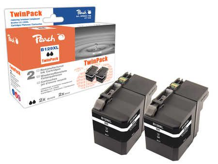 Peach  Twin Pack Ink Cartridge XXL black, compatible with ID-Fabricant: LC-129XL Brother MFCJ 6520 DW