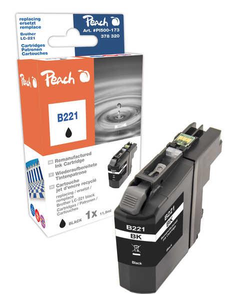 Peach Cartouche d'encre  noir, compatible avec ID-Fabricant: LC-221BK Brother MFCJ 480 DW