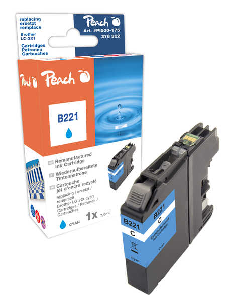 Peach Cartouche d'encre  cyan, compatible avec ID-Fabricant: LC-221C Brother MFCJ 480 DW