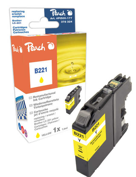Peach Cartouche d'encre  jaune, compatible avec ID-Fabricant: LC-221Y Brother MFCJ 480 DW