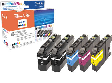 Peach  Multi Pack Plus with chip, compatible with ID-Fabricant: LC-221 Brother MFCJ 480 DW