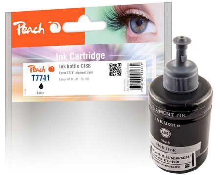 Peach  bouteille d'encre pigm. noir compatible avec ID-Fabricant: T7741, T774140 Epson WorkForce M 100 Series