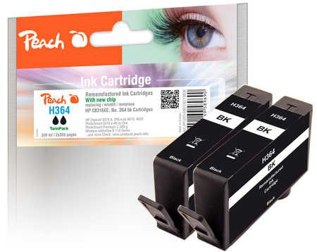 Peach  Twin Pack Ink Cartridge black compatible with ID-Fabricant: No. 364, CB316EE HP PhotoSmart Premium C 410 Series