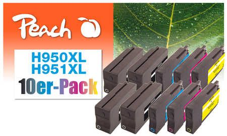 Peach  Pack of 10 Ink Cartridges compatible with ID-Fabricant: No. 950XL, No. 951XL HP OfficeJet Pro 251 dw