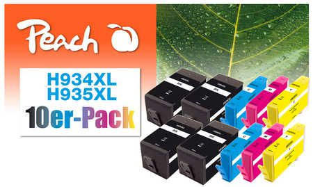 Peach  Pack of 10 Ink Cartridges compatible with ID-Fabricant: No. 934XL, No. 935XL HP OfficeJet Pro 6230