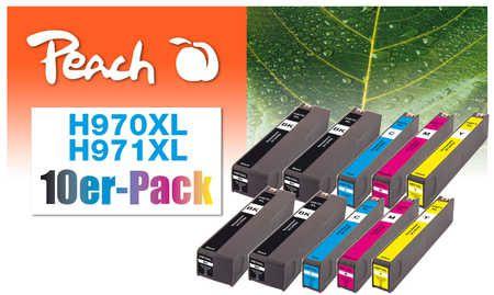 Peach  Pack de 10 cartouches d'encre compatible avec ID-Fabricant: No. 970XL, No. 971XL HP OfficeJet Pro X 451 dn