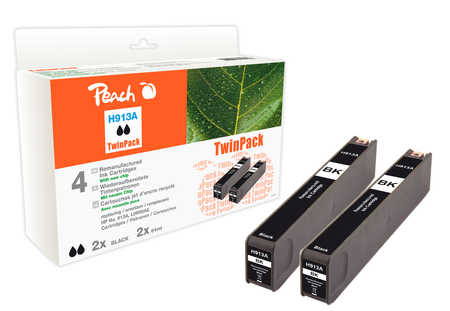 Peach  Twinpack Ink Cartridge black compatible with ID-Fabricant: No. 913A, L0R95AE HP PageWide Pro 450 Series