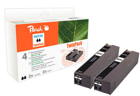 Peach  Twinpack Ink Cartridge black HC compatible with ID-Fabricant: No. 973X, L0S07AE HP PageWide Pro 450 Series