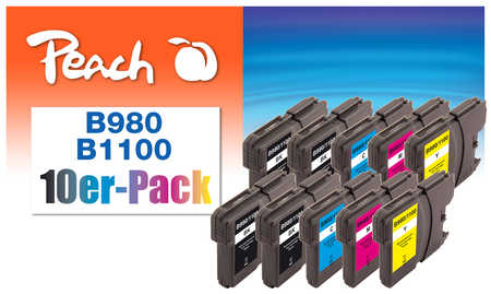 Peach  Pack de 10 cartouches d'encre, XL, compatible avec ID-Fabricant: LC-1100, LC-980 Brother DCP-163 C