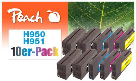 Peach  Pack of 10 Ink Cartridges compatible with ID-Fabricant: No. 950, No. 951 HP OfficeJet Pro 251 dw