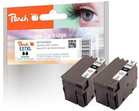 Peach  Twin Pack cartouche d'encre noire, compatible avec ID-Fabricant: No. 27XL bk, T2711 Epson WorkForce WF-7710 DWF