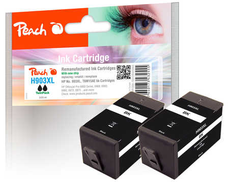 Peach  Twin Pack Ink Cartridge black HC compatible with ID-Fabricant: No. 903XL, T6M15AE HP OfficeJet Pro 6975