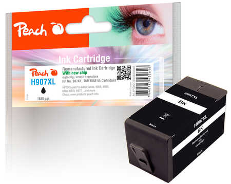 Peach  Ink Cartridge black HC compatible with ID-Fabricant: No. 907XL, T6M19AE HP OfficeJet Pro 6975