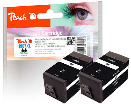 Peach  Twin Pack Ink Cartridge black HC compatible with ID-Fabricant: No. 907XL, T6M19AE HP OfficeJet Pro 6975